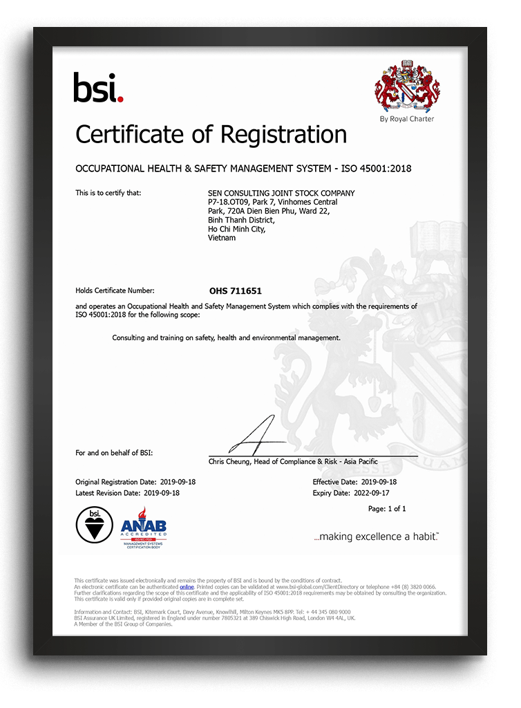 OCCUPATIONAL HEALTH & SAFETY MANAGEMENT SYSTEM - ISO 45001:2018
